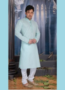 AQUA COLOR POLY COTTON READY MADE KURTA SET