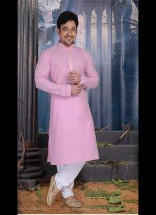 PINK COLOR POLY COTTON READY MADE KURTA SET