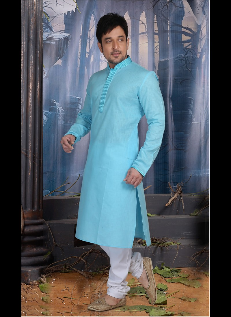 BRIGHT BLUE POLY COTTON READY MADE KURTA SET