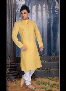YELLOW POLY COTTON READY MADE KURTA SET