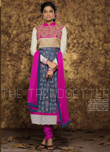 PINK AND BLUE PRINTED ANARKALI SUIT