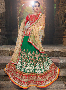SPECTACULAR GREEN EMBROIDERED LEHENGA CHOLI