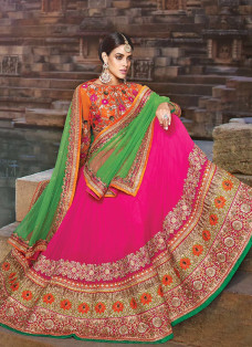 SPECTACULAR PINK THREADWORK LEHENGA CHOLI