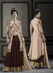 PEACH AND BROWN JACKET STYLE LEHENGA SET
