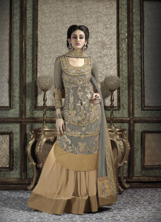 GREY AND BEIGE KURTA STYLE LEHENGA SET