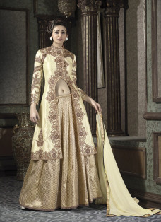 CREAM AND GOLD JACKET STYLE LEHENGA SET