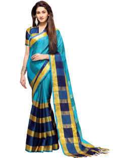 BLUE AND GOLD STRIPED COTTON SILK SAREE
