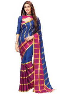 BLUE AND PINK STRIPED COTTON SILK SAREE