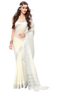 CREAM AND SILVER STRIPED COTTON SILK SAREE