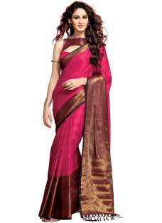 BURGUNDY AND COPPER STRIPED COTTON SILK SAREE