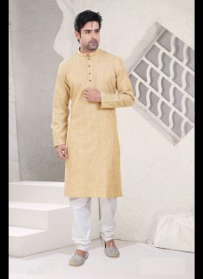 LIGHT BEIGE COTTON READYMADE KURTA SET