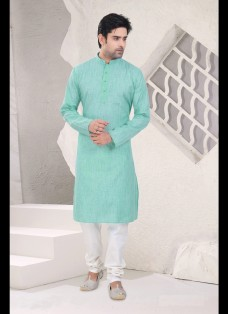 LIGHT GREEN COTTON READYMADE KURTA SET