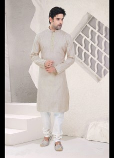 LIGHT FAWN COTTON READYMADE KURTA SET