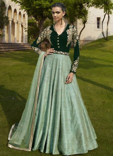 RAVISHING BOTTLE GREEN EMBELLISHED ANARKALI SUIT