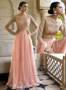 RAVISHING PEACH NET EMBELLISHED ANARKALI SUIT