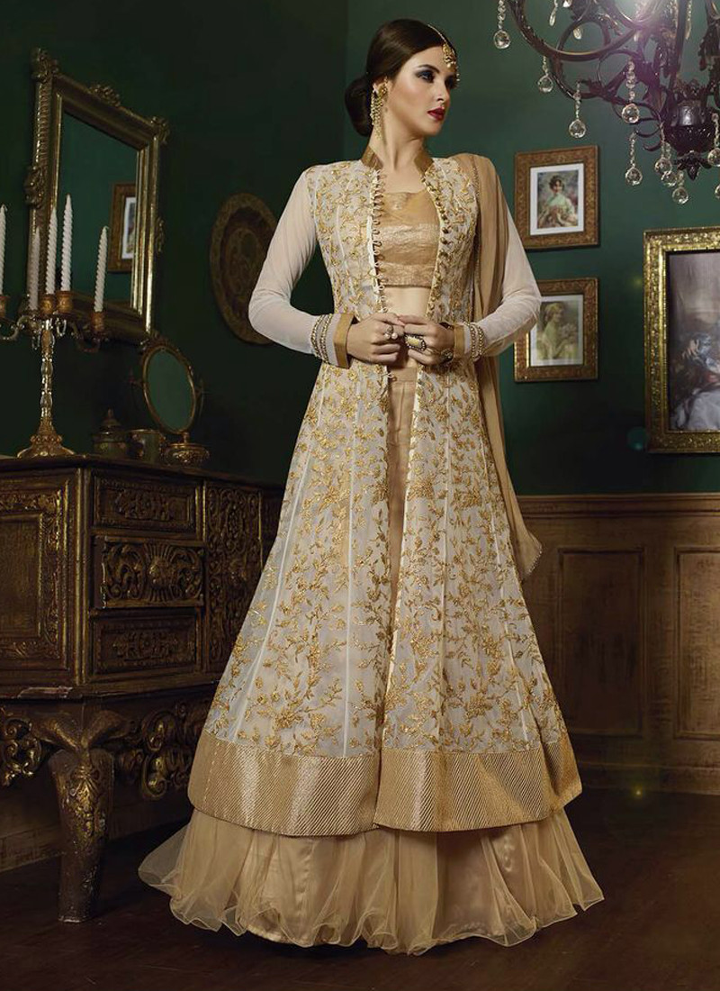 CREAM AND BEIGE EMBROIDERED INDO WESTERN LEHENGA