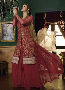 MAROON AND BEIGE INDO FUSION LEHENGA SET