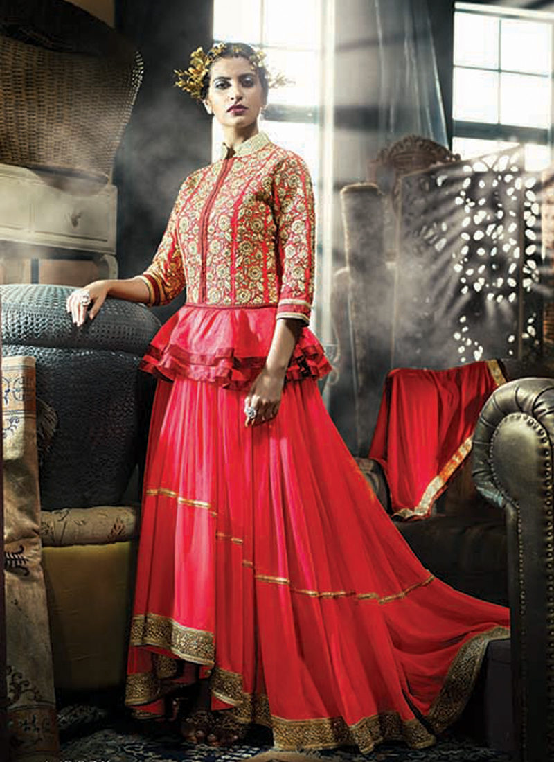 HAUTE RED PEPLUM STYLE INDO WESTERN GOWN