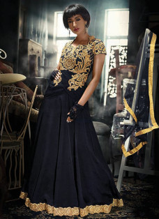 HAUTE BLACK AND GOLDEN INDO FUSION GOWN