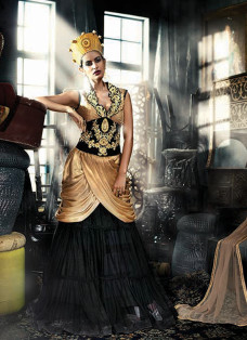 HAUTE GOLDEN AND BLACK PLEATED SWAG STYLE GOWN