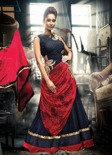 RED AND BLACK DRAPE STYLE INDO FUSION GOWN
