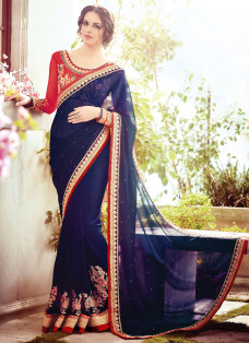 OPULENT NAVY BLUE AND RED EMBROIDERED SAREE