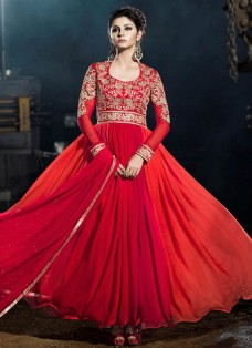 MAJESTIC RED OMBRE EMBROIDERED PARTY WEAR GOWN