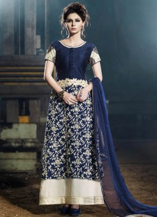 MAJESTIC NAVY BLUE AND CREAM PARTY WEAR SUIT