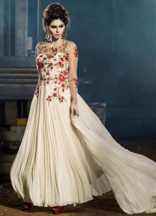 MAJESTIC CREAM FLORAL EMBROIDERED PARTY WEAR GOWN