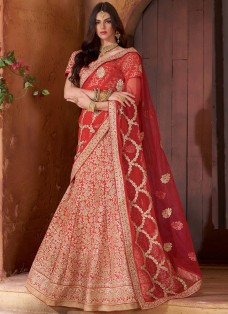 BRIDAL RED EMBROIDERED BANARASI LEHENGA CHOLI