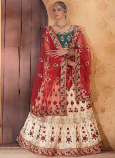 BRIDAL GREEN AND CREAM EMBROIDERED LEHENGA SET