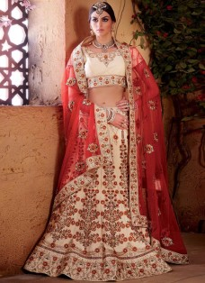 BRIDAL CREAM AND RED EMBROIDERED LEHENGA CHOLI SET
