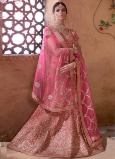 BRIDAL RED AND PINK BANARASI EMBROIDERED LEHENGA