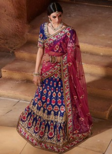 BRIDAL PINK AND BLUE BANARASI EMBROIDERED LEHENGA