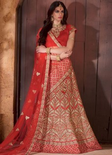 BRIDAL RED BANARASI SILK EMBROIDERED LEHENGA