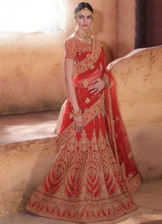 AUSPICIOUS RED BRIDAL BANARASI EMBROIDERED LEHENGA