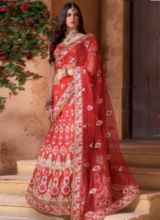 RED BRIDAL BANARASI EMBROIDERED LEHENGA CHOLI
