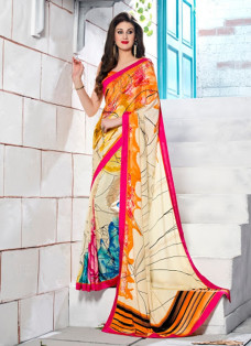 TRENDSETTER CREAM AND ORANGE CREPE SILK SAREE