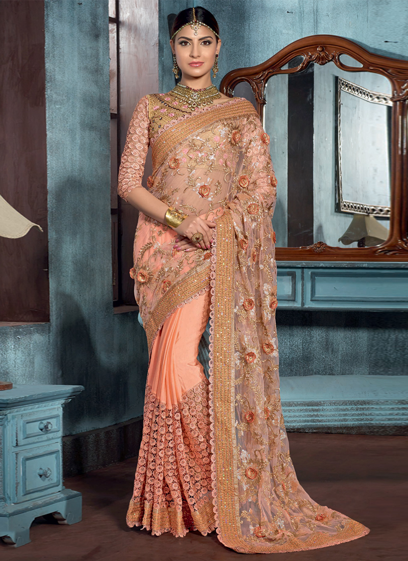 Impeccable Peach Net Embroidered Designer Saree
