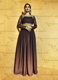 LUXE BROWN EMBROIDERED DESIGNER GOWN STYLE SUIT