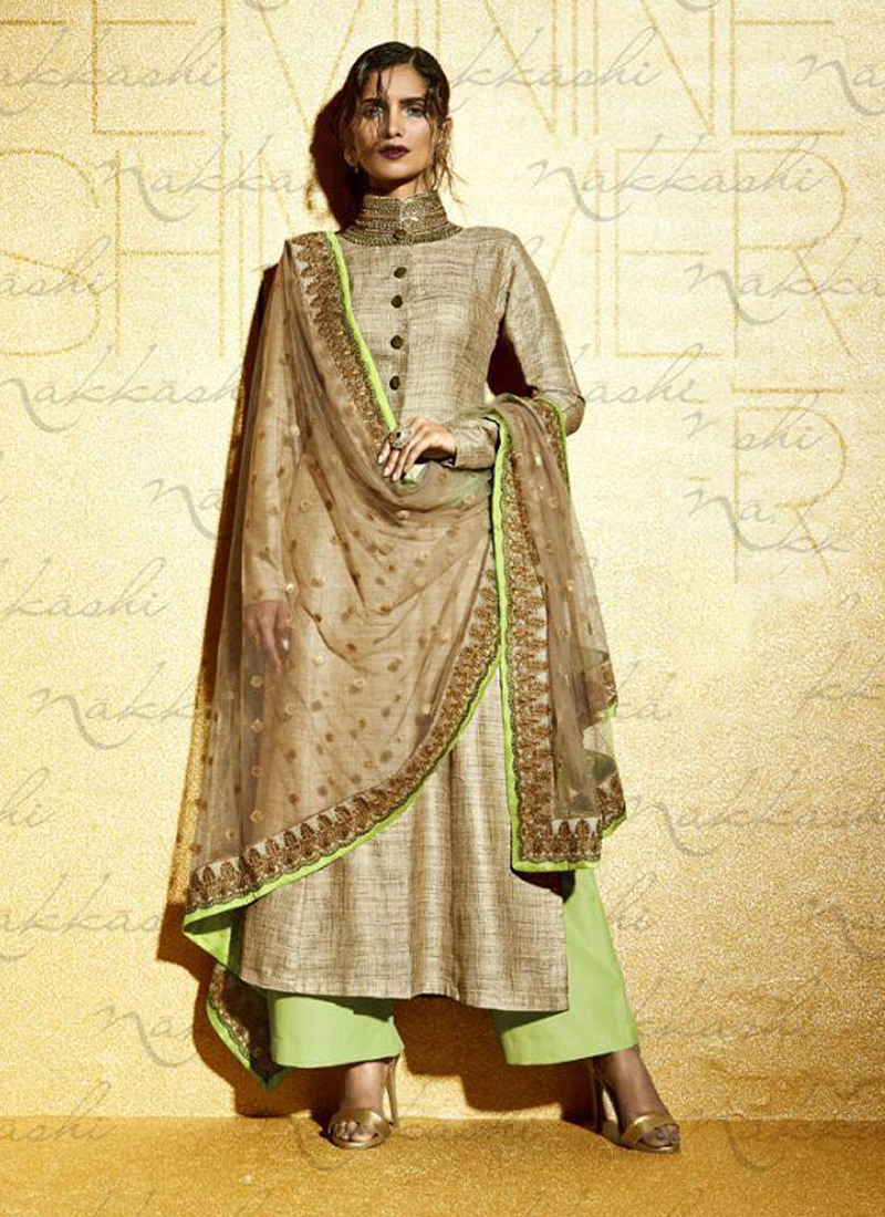 Beige And Pista Embroidered Designer Suit