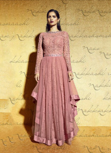 LUXE PEACH SEQUINNED GOWN STYLE SUIT