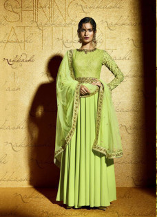 LUXE PISTA GREEN EMBELLISHED GOWN STYLE SUIT