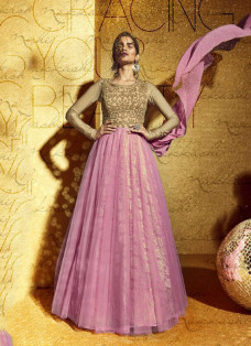 LUXE PINK AND BEIGE EMBELLISHED GOWN STYLE SUIT