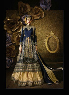 LAVISH BLUE AND BEIGE EMBROIDERED LEHENGA CHOLI