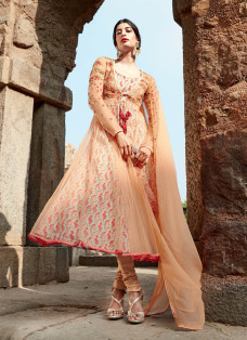 AMAZING PEACH DOUBLE LAYERED ANARKALI SUIT