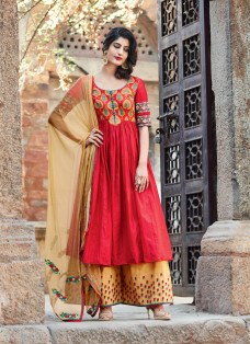 AMAZING RED AND YELLOW EMBROIDERED PALAZZO SUIT