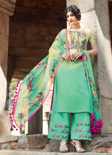 AMAZING MINT GREEN EMBROIDERED PALAZZO SUIT
