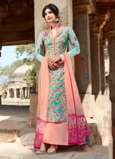 AMAZING TURQUOISE AND PEACH PALAZZO SUIT