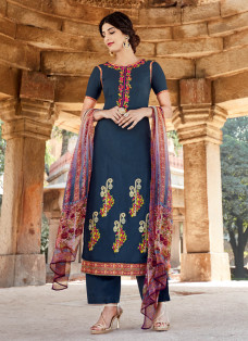 AMAZING DEEP BLUE EMBROIDERED PALAZZO SUIT